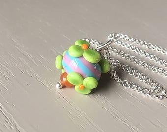 Art Glass Necklace // Lampwork Jewelry // Fun Flowers Necklace // Boho Look // Boho Style
