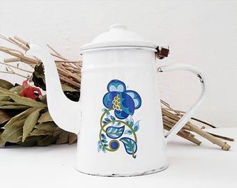 Vintage, with flower decor enamel coffee pot