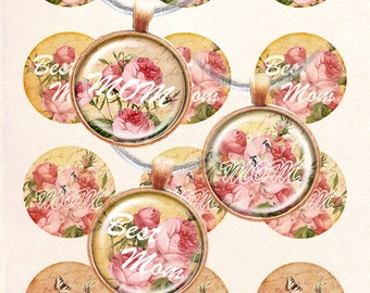Vintage rose mother's day bottle cap images 4x6 inch digital collage sheet 1 inch round images printable downloads