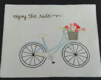 Basket of Flowers Bicycle Embroidery Pattern