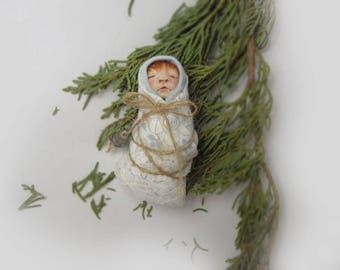 Tiny Baby, Sleeping Baby, Collectible, Baby Shower Gift, Miniature Baby,fairy cocoon,New Mom,New Baby Gifts,Small Baby,OOAK,Fairy Garden