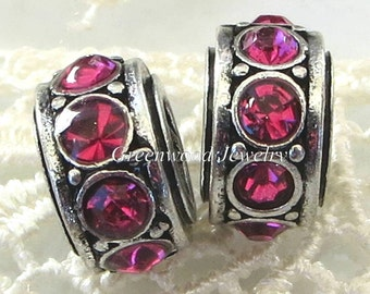 2pcs. Hot Pink - Birthstone, European Charm Bead For Large Hole Charm Bracelet And Necklace Chain, Crystal Spacer. 8x11mm