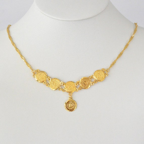 Middle Eastern Arabic Gold Coin Jewelry Necklace Pendant 24k