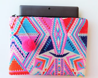 ethnic laptop cover, laptop sleeve, ethnic bag, mackbook case, mexican fabric, gift idea for her, handmade computer case, unique clutch bag