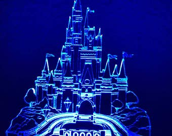 WDW / Magic Kingdom Inspired Cinderella's Castle Night Light / Desktop Lamp with Color Changing Base