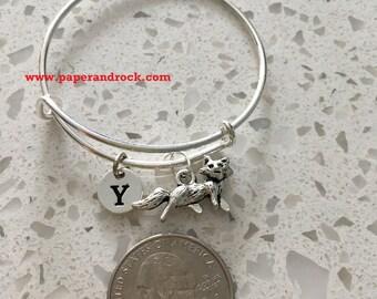 KIDS SIZE - Fox initial bangle, fox jewelry, woodland jewelry, fairy tale bracelet, silver fox, running fox jewelry, forest jewelry