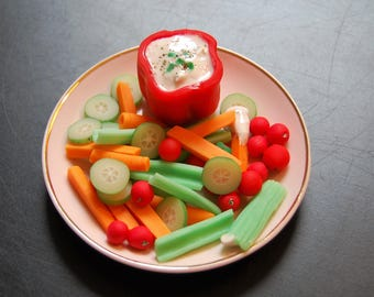 Faux Real Food for American Girl Dolls. Vegetables and Dip