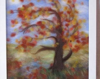 Autumn. Afternoon. Air. - wool fiber art, wall hanging, wool picture