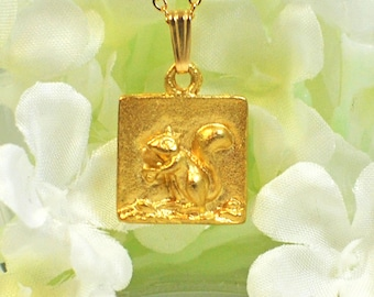 Golden Squirrel Necklace Nuts - Squirrel Pendant - Squirrel Jewelry - Woodland Nature Jewelry - Gift for Squirrel Lovers