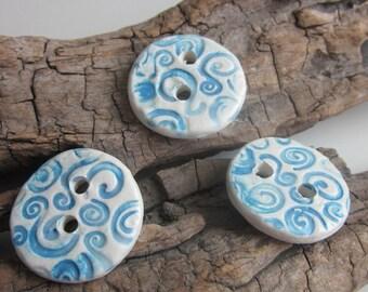 3 Medium Bright Blue Spiral Texture Buttons