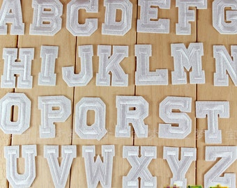 Customize SET OF 4 LETTERS, Metalic Silver 100% Embroidered, Iron On Patch  Letters, Modern, Clean, Sans Serif Font