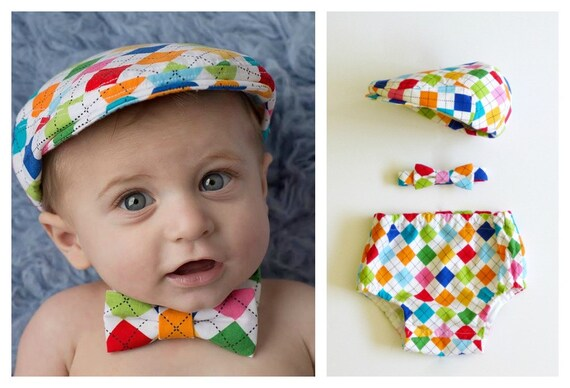 Boys Cake Smash Outfit First Birthday Argyle Bow Tie Diaper Cover And Hat Set Baby Boy 1st Made To Order