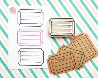 ticket rubber stamp | snail mail stamp | label stamp for planner journal | diy gift wrapping | card making | hand carved by talktothesun