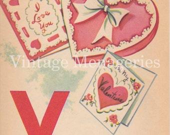 Vintage Letter V page from 1955 Children's Book