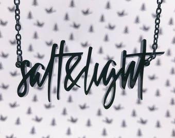 Salt & Light Acrylic Laser-cut Typography Necklace