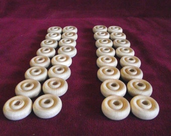 32 One Inch Wheels for Game Pieces, Unfinished Hardwood