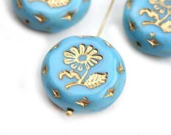 22mm Sky Blue Flower Focal bead Gold wash Blue Gold Czech glass Round tablet floral ornament beads - 1pc - 1709