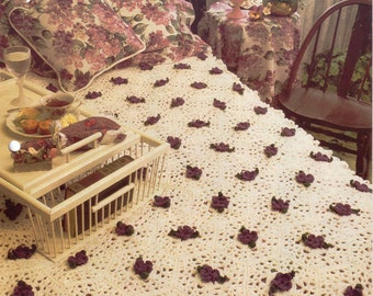 Vintage Annie's Attic Floral Lace Afghan Crochet Pattern, Bitcoin Accepted