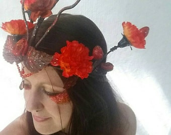 Fire Phoenix Costume Headpiece, Fairy Crown/Enchanted Floral Headband