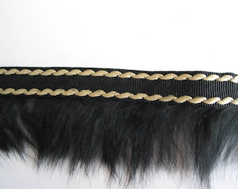 Black and beige stripe with black rabbit fur coat