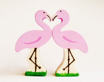 Flamingos in Love wooden waldorf Valentines toy