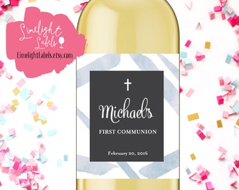 First Communion wine labels, Baptism wine labels,  Dedication wine labels  - style 125B