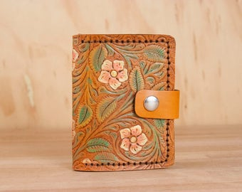 Small Coin Wallet - Limited Edition with Tooled Floral Pattern in White, Pink, Gold, Green and Antique Tan - ONE OF A KIND