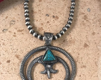 Vintage Kingman Turquoise & Sterling Silver Naja Pendant Signed