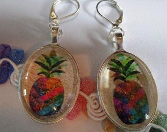 Pineapple Oval Glass Earrings