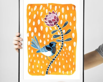 Trending Now Fairy Wren Bird Art Print Nursery Decor Australia botanical Watercolour Protea Print Kid's wall art