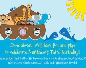 Printable Birthday Invitation, Noah's Ark, Animals, Sea, Lion, Flamingo, Zebra, Giraffe, Elephants, Whales,DIY digital file