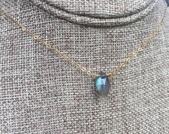 "Labradorite Collection/ Simple Labradorite Stone Necklace/16"""