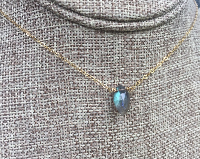 Labradorite Collection/ Simple Labradorite Stone Necklace/16""