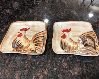 Rooster Dishes Set of Two