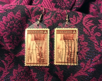 Handmade vintage postage stamp earrings