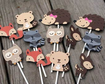 24 Woodland Animal Cupcake Toppers, forest animal, forest friends, woodland birthday, forest birthday, deer birthday, cupcake topper, owl