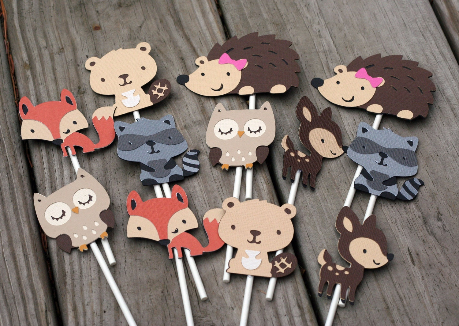 24 Woodland Animal Cupcake Toppers forest animal forest