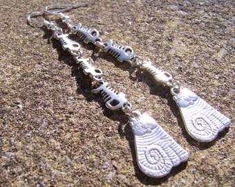 Cat Earrings. Cat And Fish Bone Earrings. Gift For Cat lover. Long Earrings. Charm Earrings. Tibetan Silver Earrings. Gift for Her.