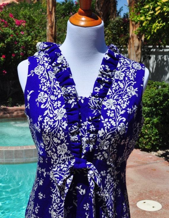 Hawaiian 1960s Maxi Vintage Blue and White Barkcloth Dress Sz 14