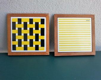 set of 2 ceramic tile trivets by Katja of Sweden