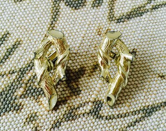 Vintage CORO Silver Tone Branch Clip On Earrings