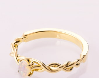 Braided Opal engagement ring, Unique Engagement ring, Celtic Opal ring, Oval Opal Ring, Opal Ring, Celtic Engagement Ring, Australian Opal