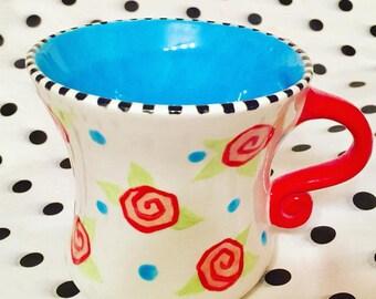 Wonky, Alice Inspired, Ceramic Mug, by Carolee Clark of King of Mice Studios