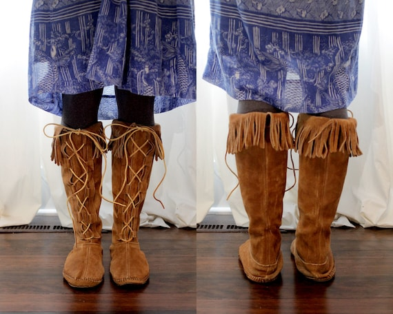 style moccasin Taos front boots suede 9 lace fringe brown up leather Mexico Vintage New BCRqn6Pwq