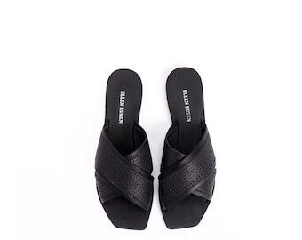 Women's Sandals, Leather Sandals, Black Sandals, Flat Sandals, Leather Slides, Slip On Sandals,  Leather Shoes, Mules, Open Toe Sandals