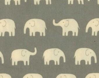 Elephants Fabric in Gray Cotton Canvas Japanese Imported Fabric Yardage - 1 yard