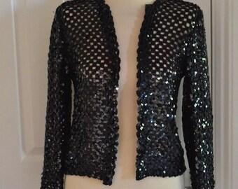 Vintage black sequin womens jacket size 12