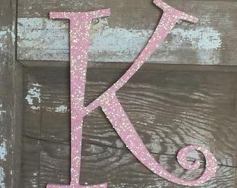 "Decorative 12"" Light Pink Monogram Letter, Girls Bedroom Decor, Nursery, Initial, Wedding Decor, Holiday Decor, Front Door Letter,"