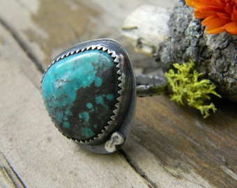 SALE -turquoise ring - size 7.25 handmade, oxidized rustic silver