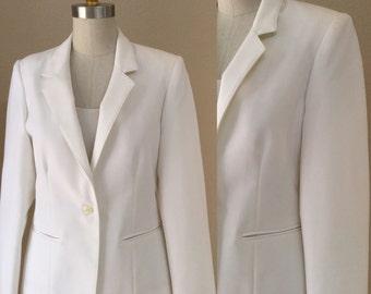 Vintage White Blazer. 80's Secretary Power Blazer. Size 7/8